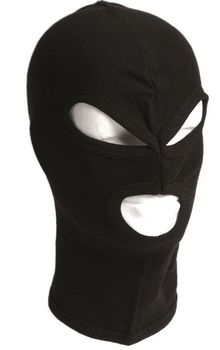 Photo 3 holes hood in black cotton