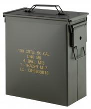 Photo Cal. 50 used steel ammo box