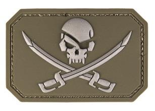 Photo PVC patch Skull + saber OD Green 8 x 5.5cm