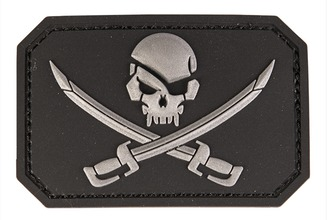 Photo PVC patch Skull + saber Black 8 x 5.5cm