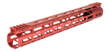 Photo Aluminium Speed Skeleton M-LOK 15' hand guard Red