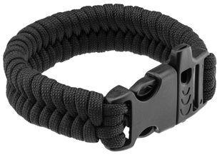 Photo Paracord black survival bracelet and whistle