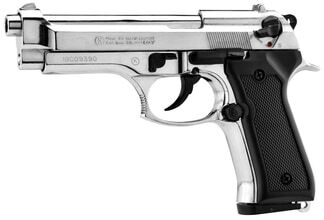 Photo Pistolet 9 mm à blanc Chiappa 92 nickelé