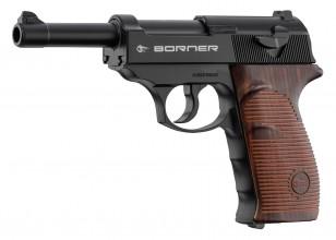 Photo Pistolet Co2 culasse fixe BORNER C41 P38 cal. 4.5mm BB's