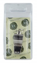 Photo Elless nickel plated brass whistle with caster