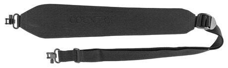 Photo Bretelle carabine suédine noire, rigide, attache rapide