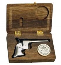 Photo Pistolet Derringer Rider blanc en coffret bois cal. 4,5 mm