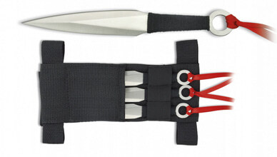 Photo Set of 3 throwing knives with ribbon