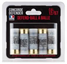 Photo 5 cartouches Defend-Ball cal. 12/67 à balle Elastomere Bior