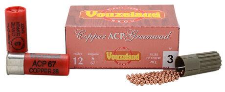 Photo Cartouches Vouzelaud - Copper ACP Greenwad Tube plastique - Cal. 12/67