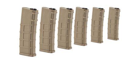 Photo Pack de 6 chargeurs real-cap 30 billes tan pour M4 séries - BO manufacture