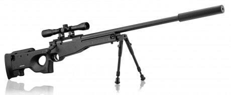 Photo Pack sniper type AW308 + 4 x 32 bezel + bipod + silencer