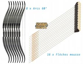 Photo Pack 8 arcs et 16 flèches mousse Swap Archery