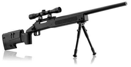 Photo Pack sniper type M40 ressort 1. 9j + bi-pied + lunette 4x32