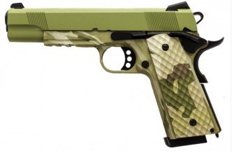 Photo GBB Pistol 1911 MEU Rail Raven full metal gaz Camo frame / OD slide 1,0J