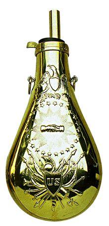 Photo Poire à poudre Zouave en laiton cal. .58