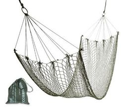 Photo Mini lightweight hammock in green mesh