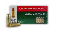 Photo SELLIER BELLOT 25 ACP  6.35 Br FMJ 50GRS