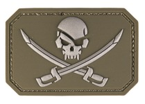 PVC patch Skull + saber OD Green 8 x 5.5cm