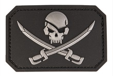 PVC patch Skull + saber Black 8 x 5.5cm