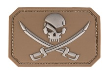 PVC patch Skull + sword Tan 8 x 5.5cm