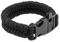Paracord black survival bracelet and whistle