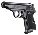 9 mm gun with white Walther PP black