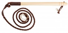 Hunting whip, wood handle, leather fleet - Country