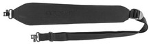 Black suede carbine shoulder strap, rigid, quick coupler