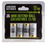 4 cartouches Mini Defend-Ball cal. 12/50 chevrotine Elastomere