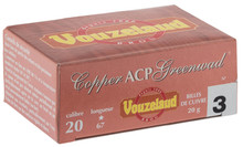 Cartridges Vouzelaud Copper ACP Greenwad Plastic Tube - Cal. 20/67