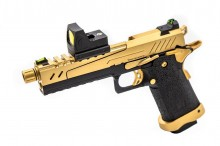 Réplique GBB gaz Hi-Capa 5.1 SPLIT Gold / Noir 1,0J + point rouge BDS