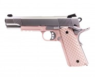 Réplique GBB 1911 MEU Railed  Raven full metal gaz Rose / Silver 1,0J