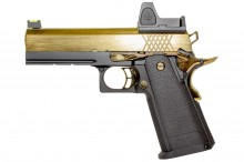 Réplique GBB Raven gaz Hi-Capa 4.3 Noir / Gold 0,9J + point rouge BDS