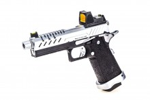 GBB Gas Hi-Capa 4.3 Black / Chrome 0,9J + BDS red-dot