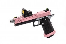 Réplique GBB gaz Hi-Capa 5.1 SPLIT Pink / Noir / Chrome 1,0J + point rouge BDS
