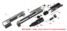 Original spare parts for HX serie lslide, outer barrel and nozzle assembly