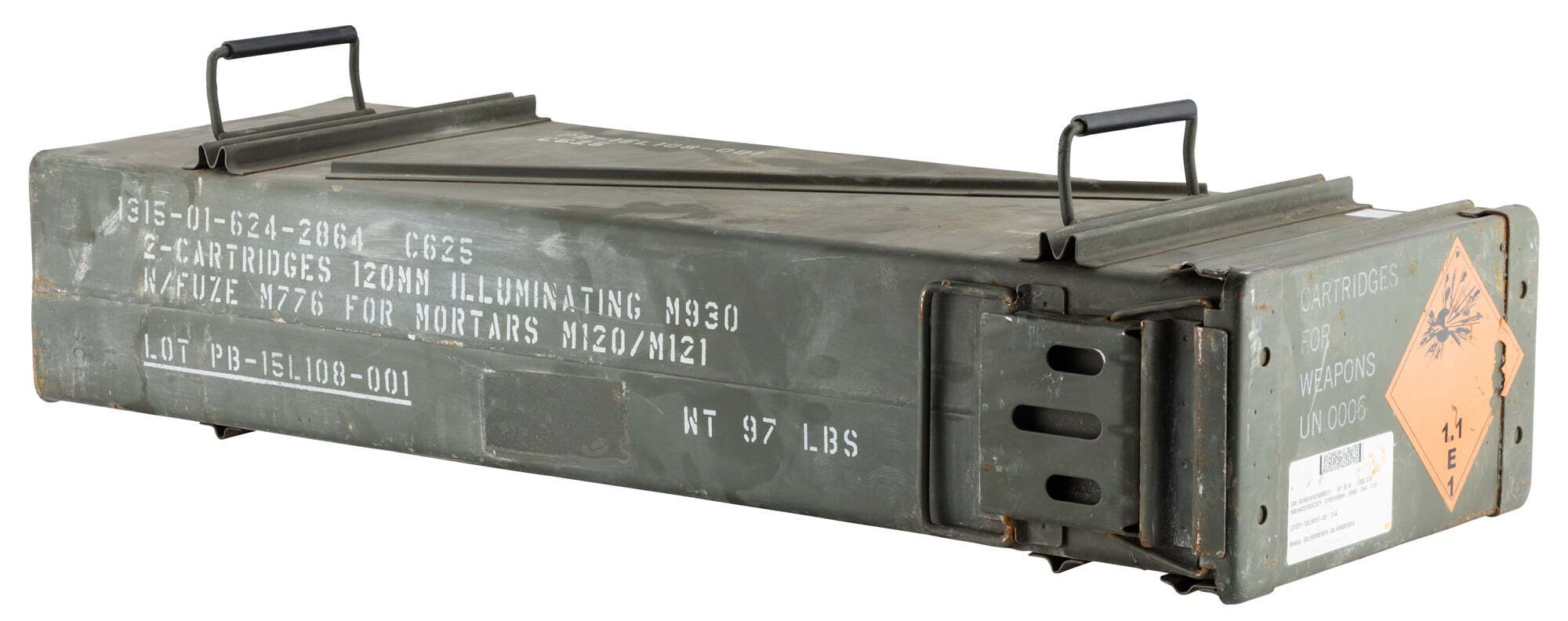 A60446-1 US 120mm used metal ammo box - A60446