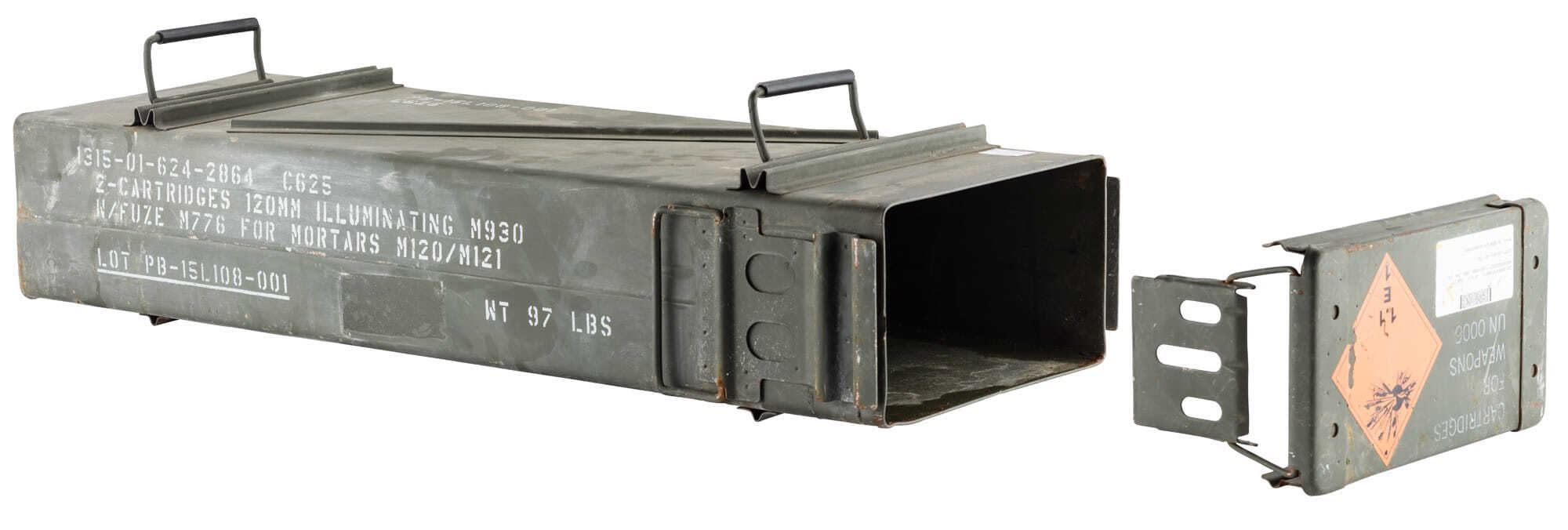 A60446-2 US 120mm used metal ammo box - A60446