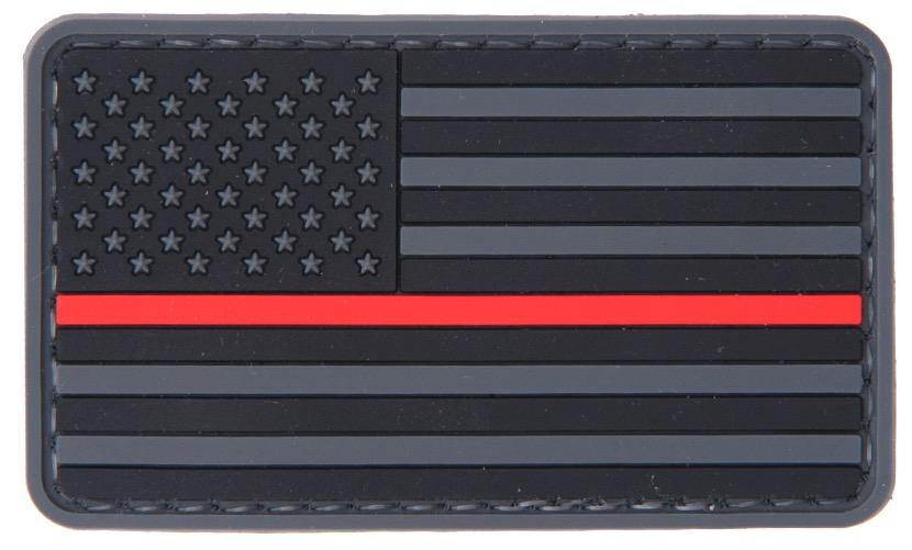 A68734 US Flag Red line PVC Patch - A68734