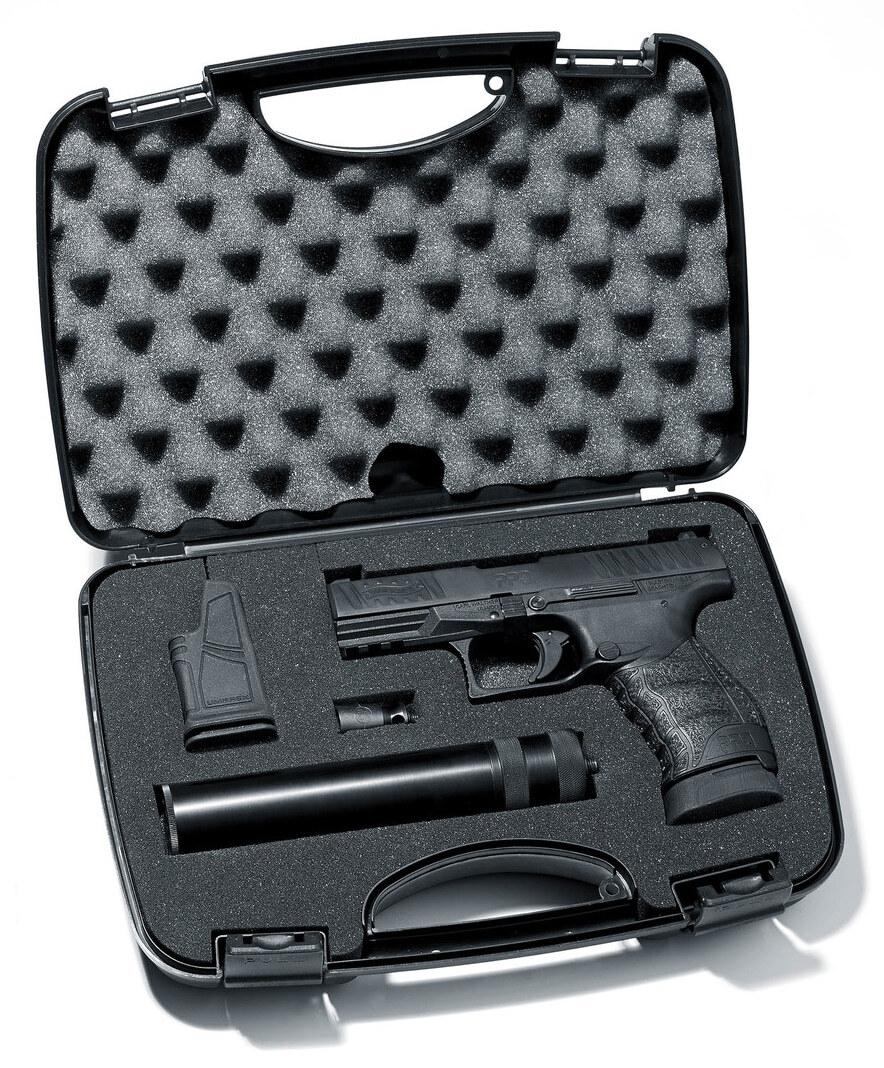 pistolet 9 mm blanc walther ppq m2 bronz avec silencieux. Black Bedroom Furniture Sets. Home Design Ideas