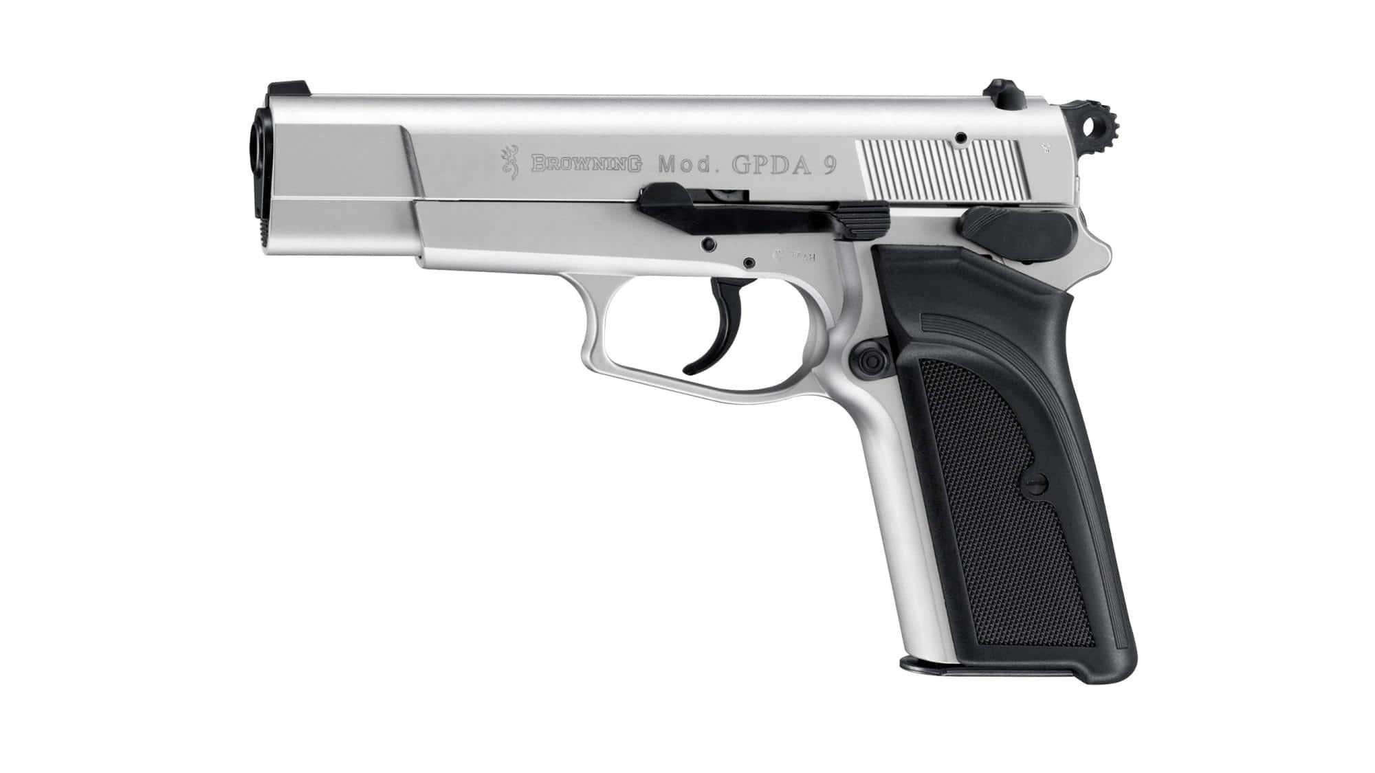 Gun 9 mm white Browning GPDA silver