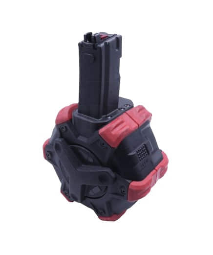 CPG4105 AW CUSTOM Adaptative Drum magasine Gas for MP5 GBBR WE 350 rounds red - CPG4105