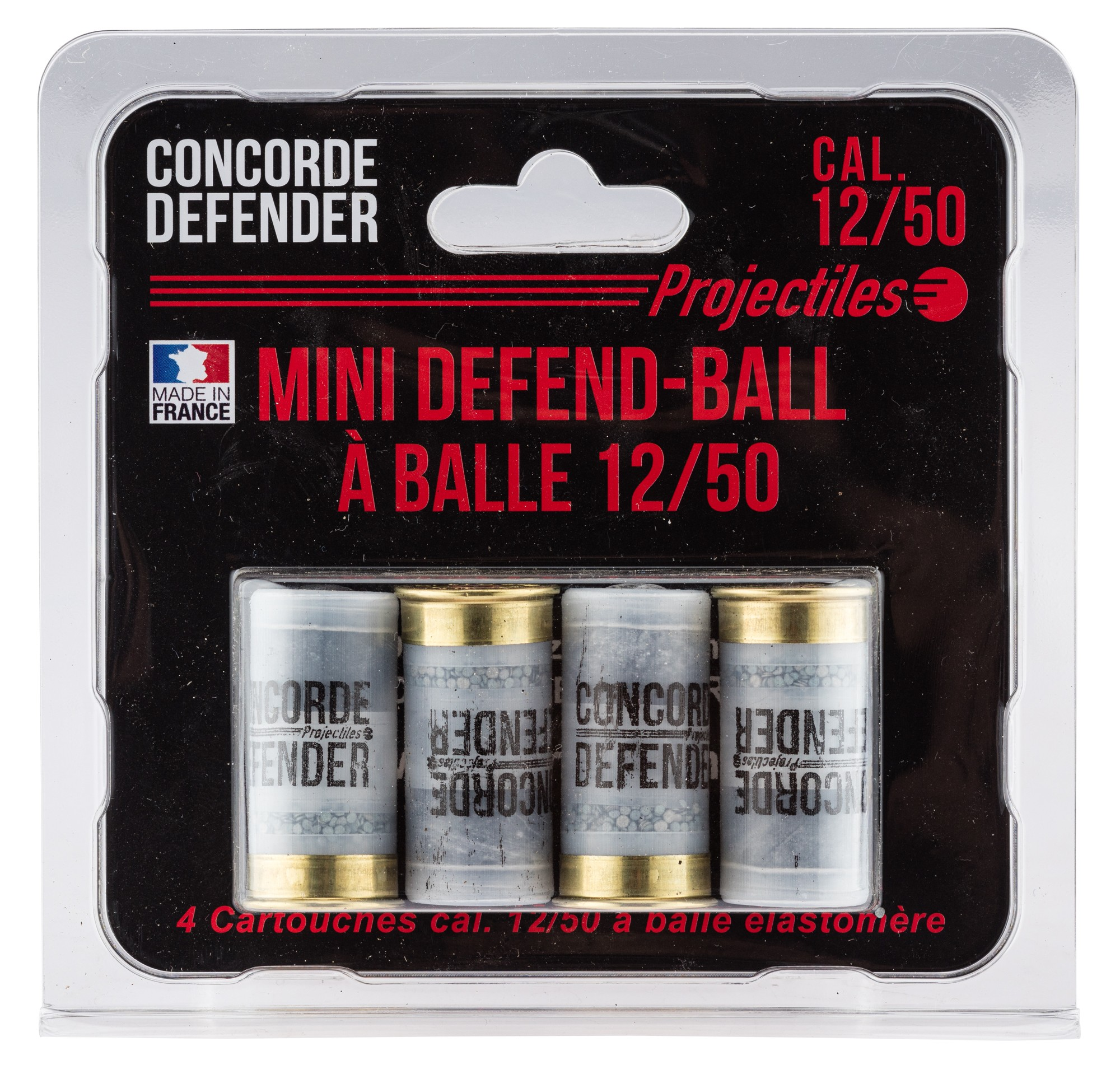 MD0413 4 cartouches Mini Defend-Ball cal. 12/50 à balle Elastomere Bior - MD0413