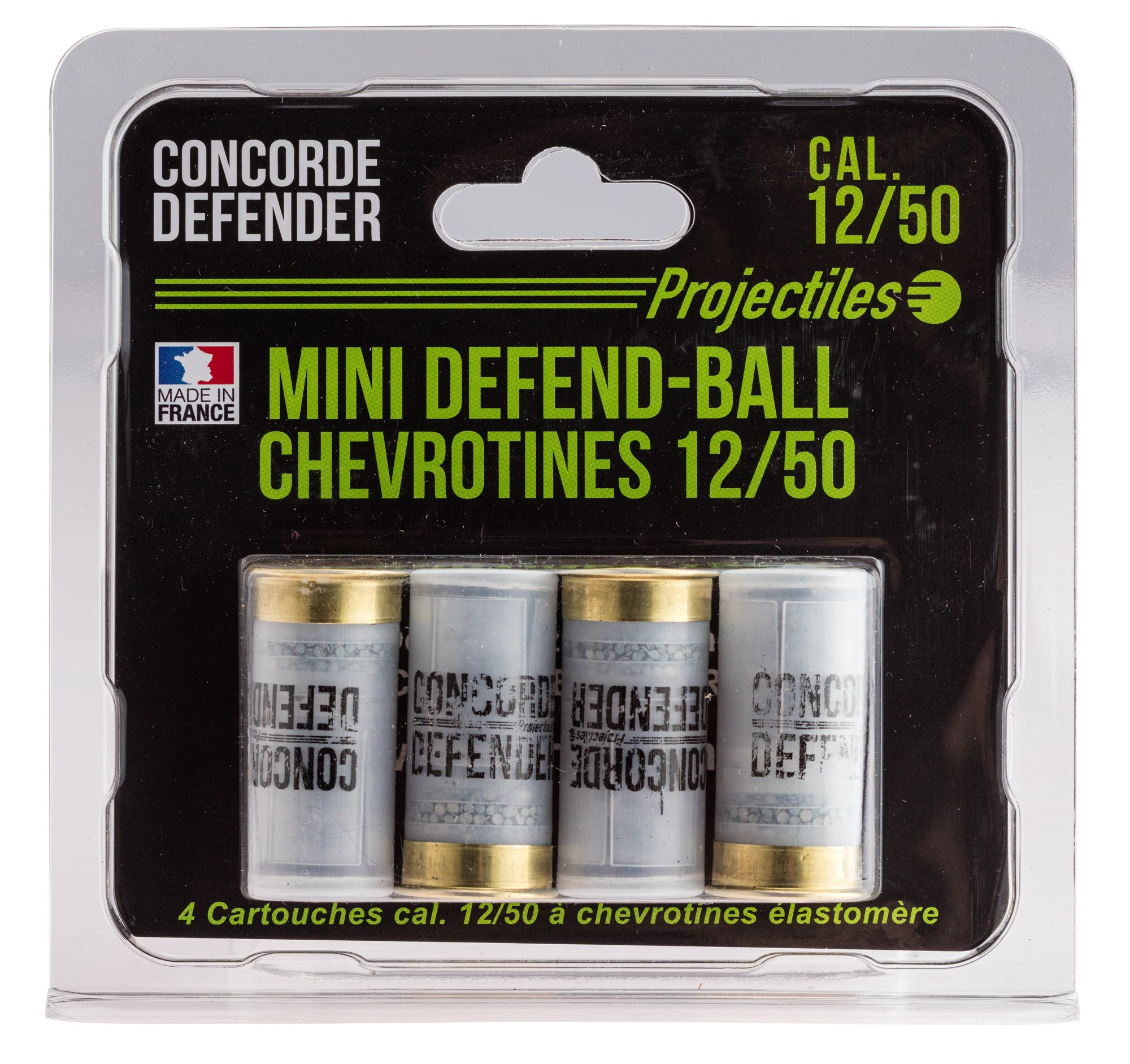 MD0421 4 cartouches Mini Defend-Ball cal. 12/50 chevrotine Elastomere - MD0421