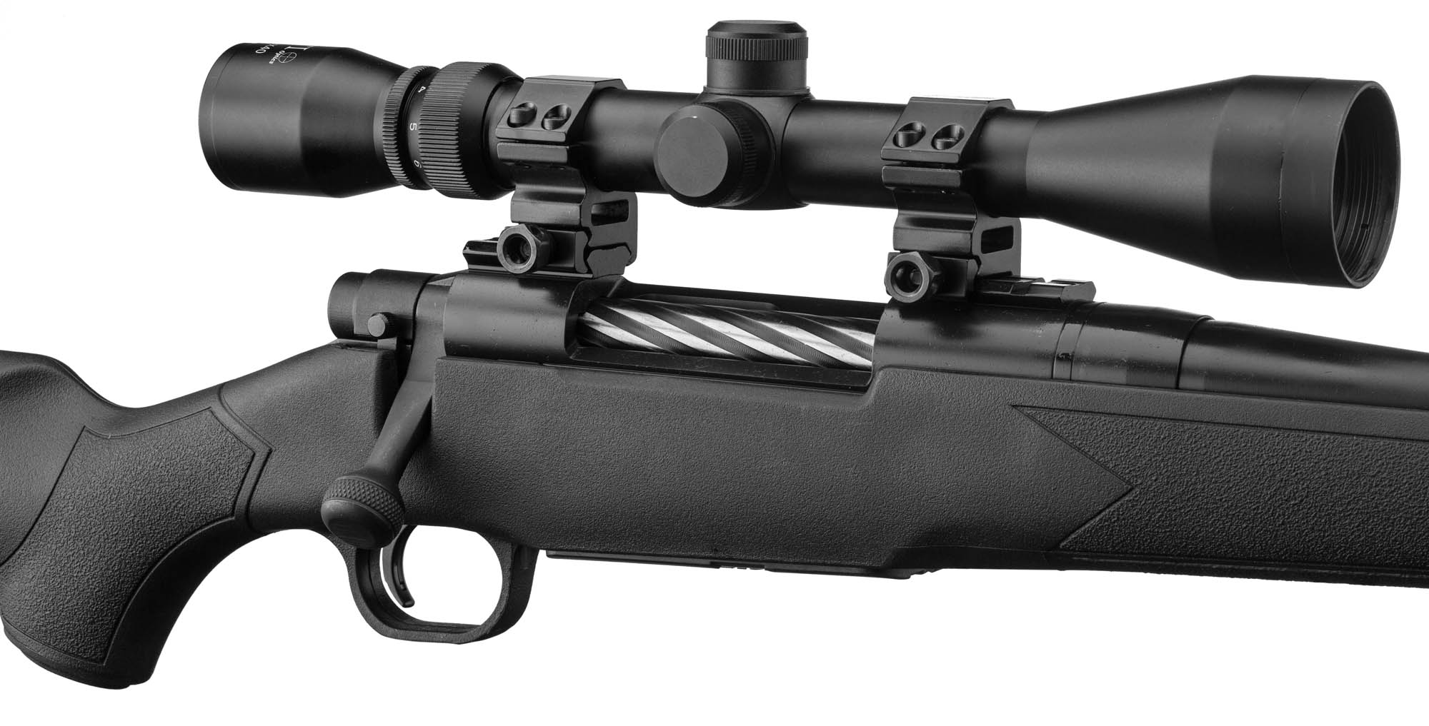 08f3800042 PCKMO2433-3-Pack Patriot Cal. 243 Win synthétique + Lunette 4-12 x 50 +  Montage - Mossberg