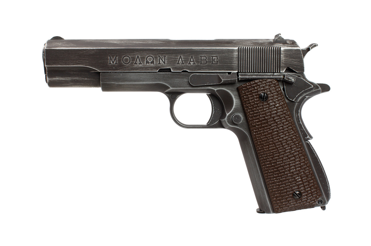 PG42461-Réplique GBB 1911 Molon Labe Grip marron - AW CUSTOM - PG42460C