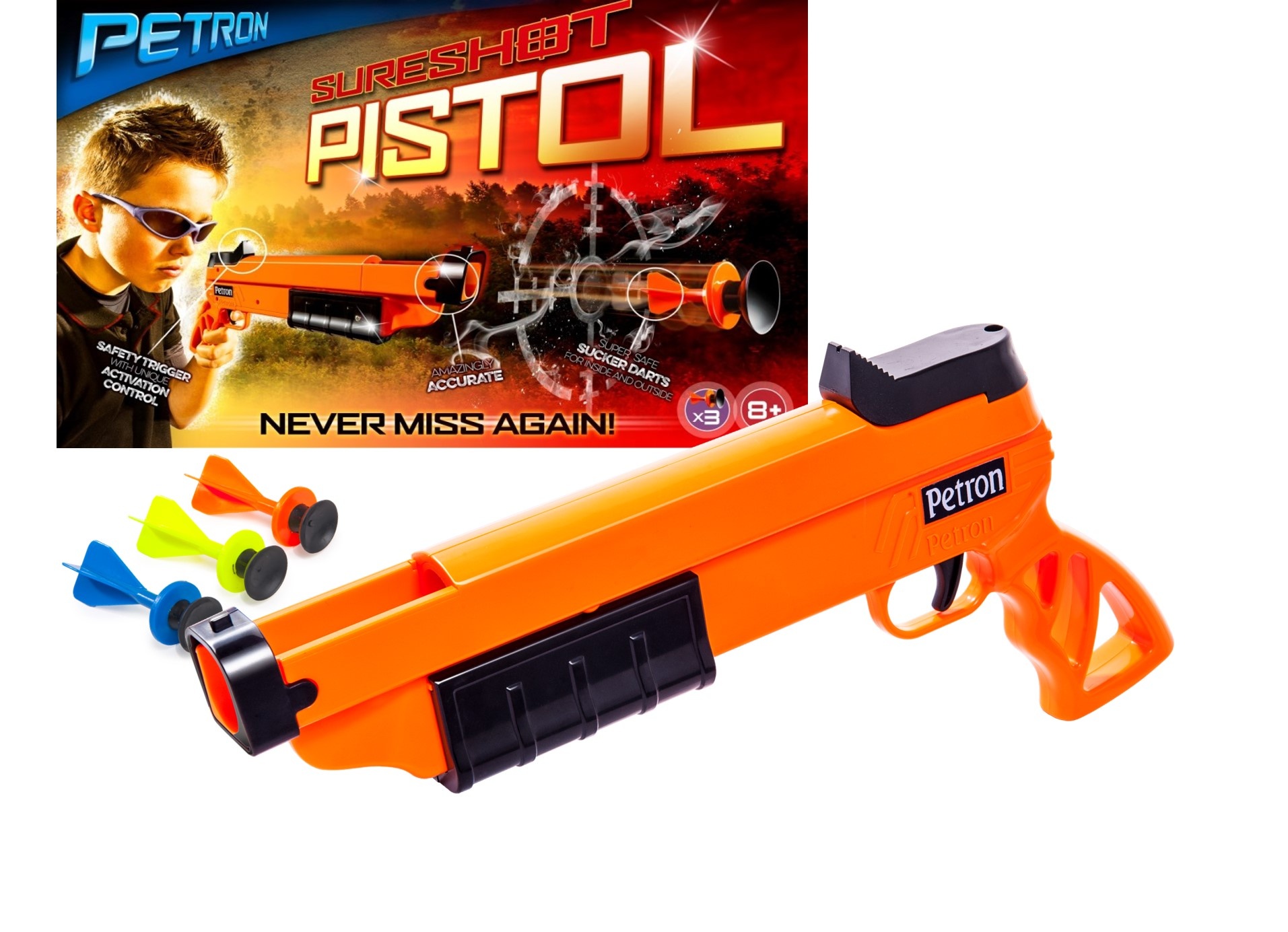 SURESHOT PISTOL PACKAGING AND PRODUCT JPEG-PISTOLET A FLECHETTES SURESHOT - PETRON - A56555